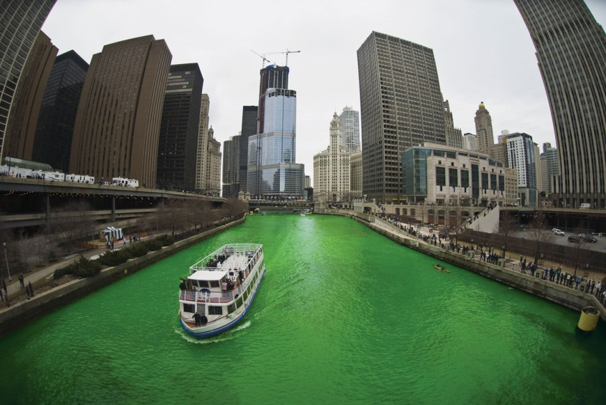 Green rivers are St. Patrick's Day traditions - It is one thing to wear green or paint a green shamrock on your cheek, but dyeing an entire river green is an immense and awe-inspiring homage to St. Patrick's Day. - Chicago River Dyed Green
