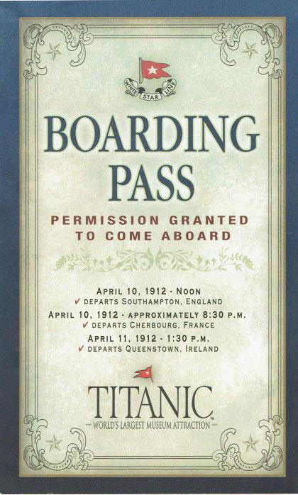 Titanic Museum Boarding Pass for Reverend John Harper #JohnHarper #Titanic #TitanicMuseum (Front)