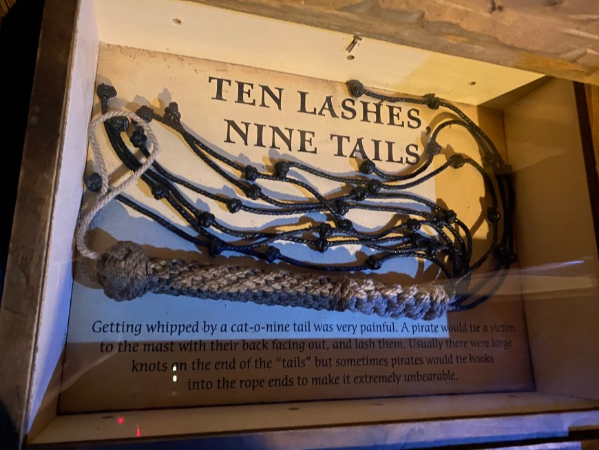 """Pirates used a Cat-O-Nine-Tails as punishment - This is similar punishment that Jesus Christ was flogged with. It has often also has been called """"A Cat on the Back"""" (Ten lashes, Nine Tails).  #Pirates #PiratesMuseum #CatONineTails #Flogging #bgbg2"""