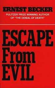 """Red book jacket with red lettering of """"Escape from Evil"""""""