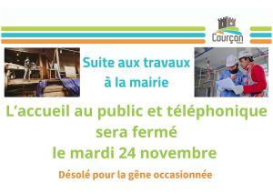 FERMETURE DE LA MAIRIE @ MAIRIE DE COURCON