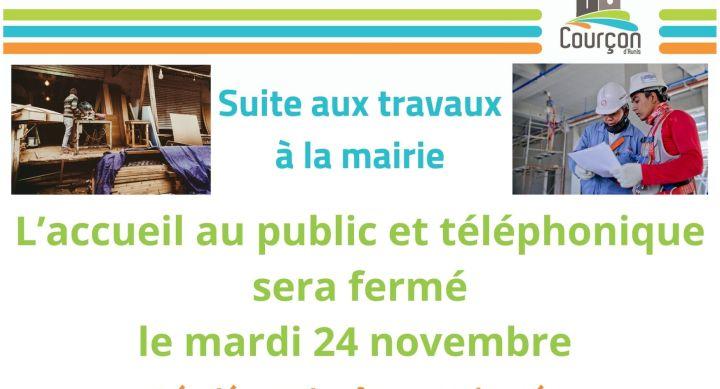 FERMETURE EXCEPTIONNELLE DE LA MAIRIE – Le 24 novembre