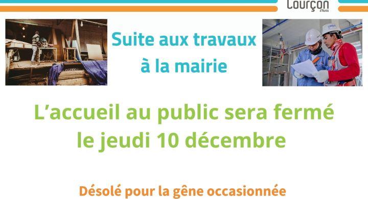 FERMETURE EXCEPTIONNELLE DE LA MAIRIE – Le 10 décembre