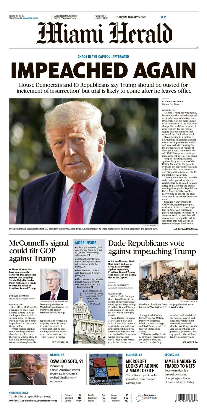 """""""Again indicted,"""" also headlines the Miami Herald.  The Florida daily points out that the leader of the Republican majority in the Senate, Mitch McConnell, could mobilize his party against Donald Trump."""