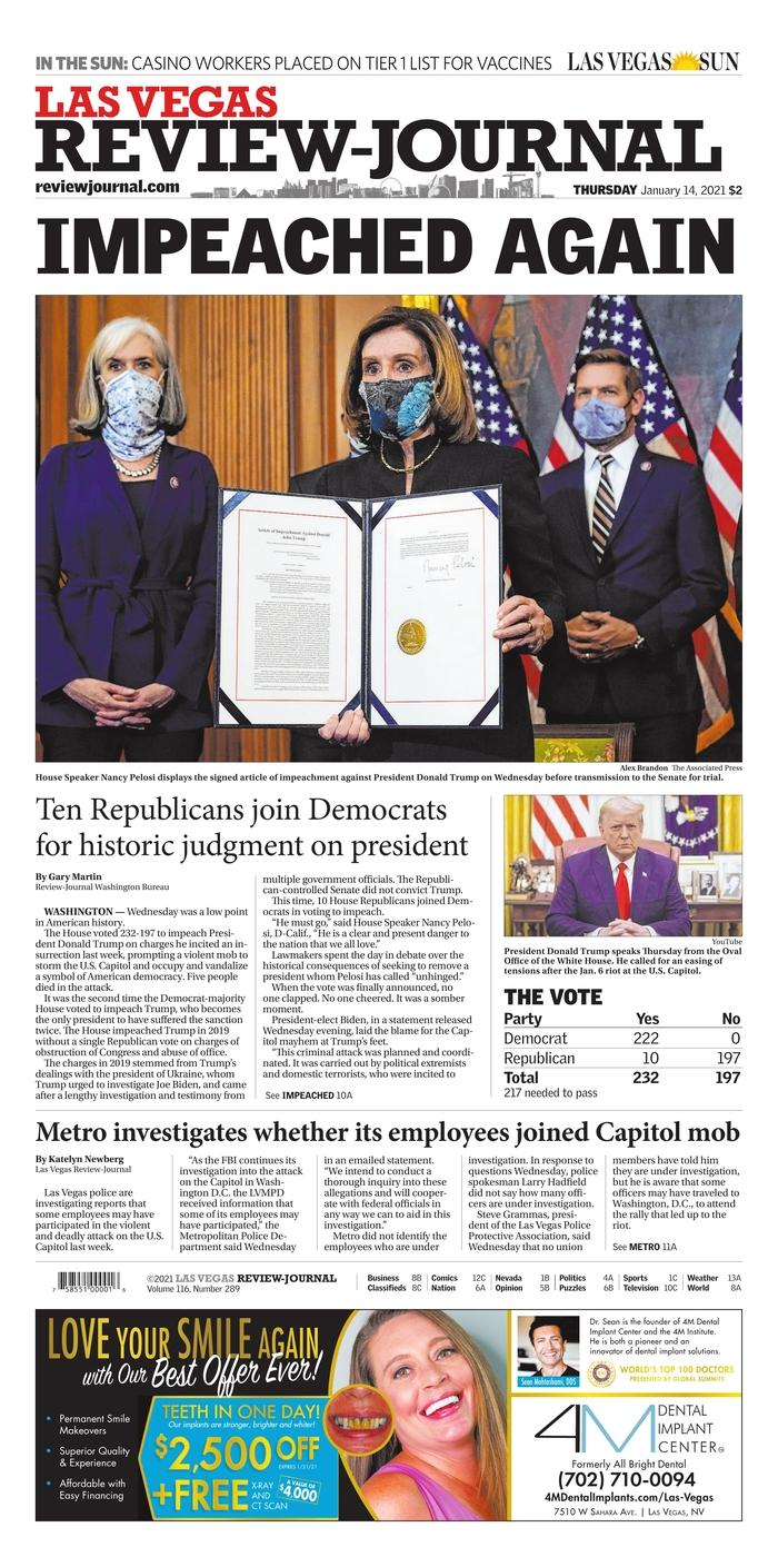 """The Las Vegas Review-Journal also opted for the most common title in the American press on January 14: """"Again indicted"""".  The Nevada daily notes in particular that 10 Republican deputies voted for impeachment with the Democrats."""