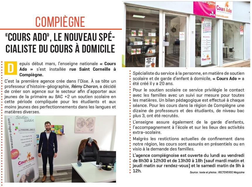 Article Mag recto verso Compiègne soutien scolaire