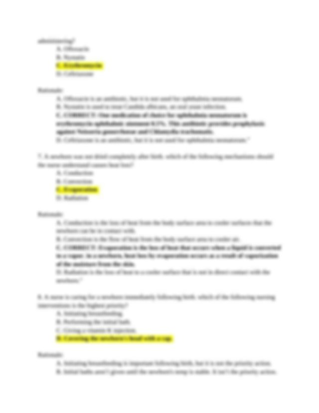 NR327 - Quiz 4 - Newborn Care NCLEX-Style Questions (For Quiz 4) - July 2019.docx - NR327 Quiz 4 Newborn Care NCLEX-Style Questions(For Quiz 4 ...