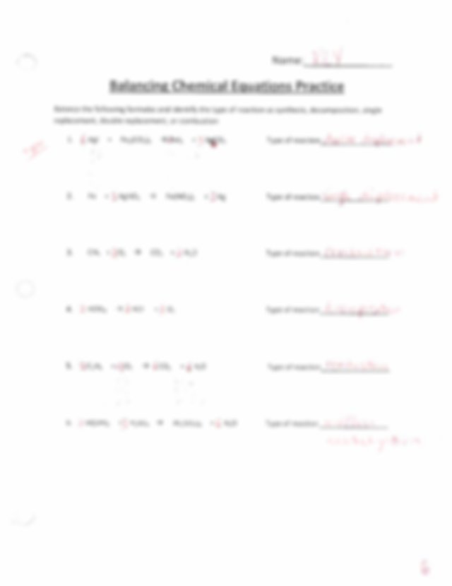 Balancing and Equations Worksheet Package Answers.pdf