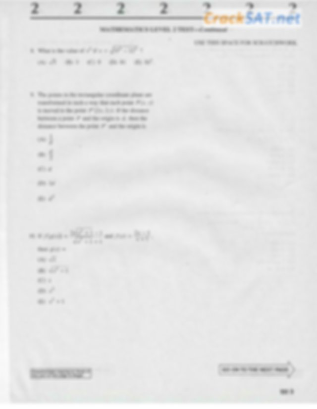 SAT 2 math level 2 Practice Test from The Official Study