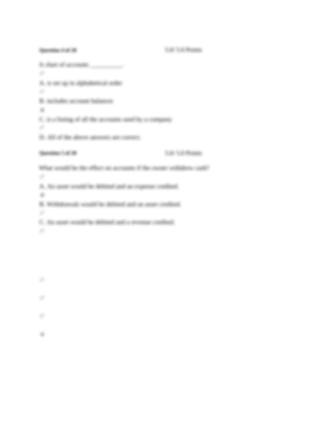 An asset would be debited and Capital credited Question 6