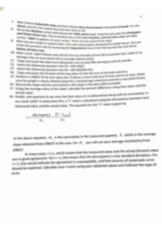 PHY2053L Physics 1 Lab (Algebra), 1-D Motion Lab With