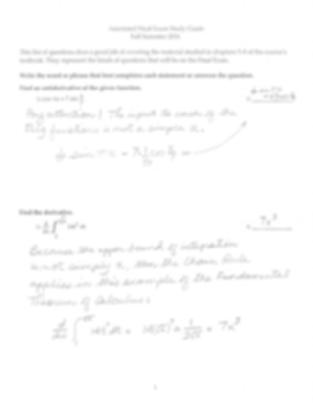Study Guide for Final Exam (with annotated answers