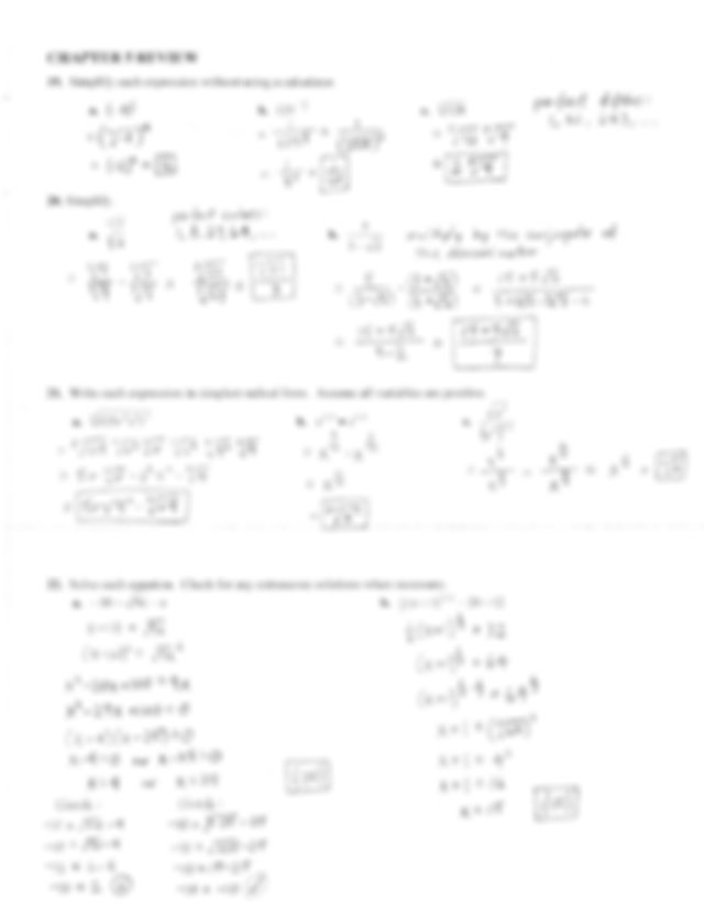 Algebra II Final, Term 1 Review Sheets Solutions (2016