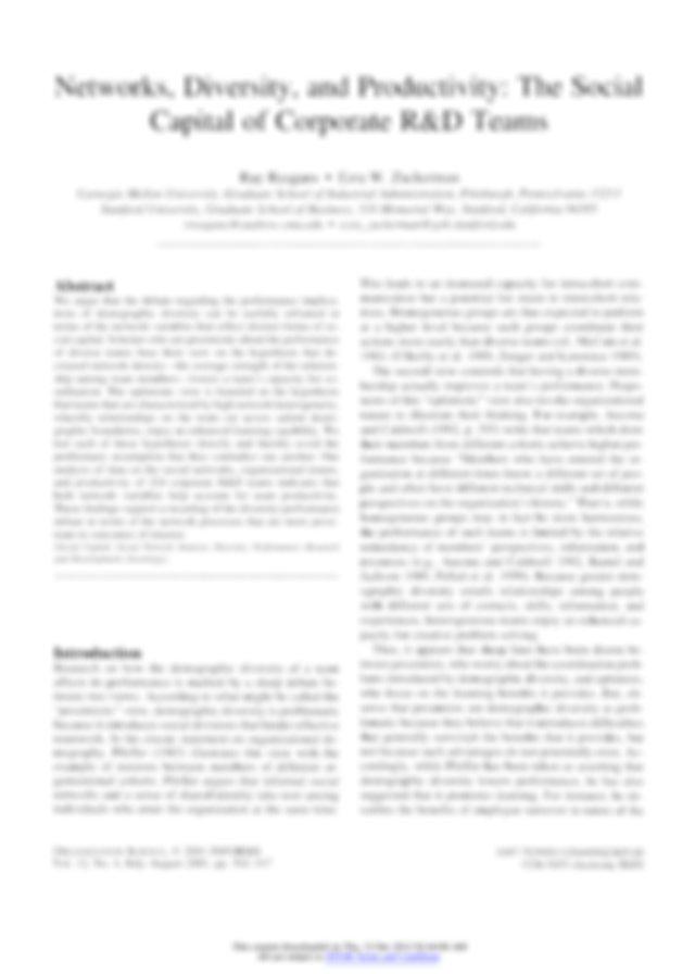 Reagans, R., & Zuckerman, E.W. 2001. Networks, diversity