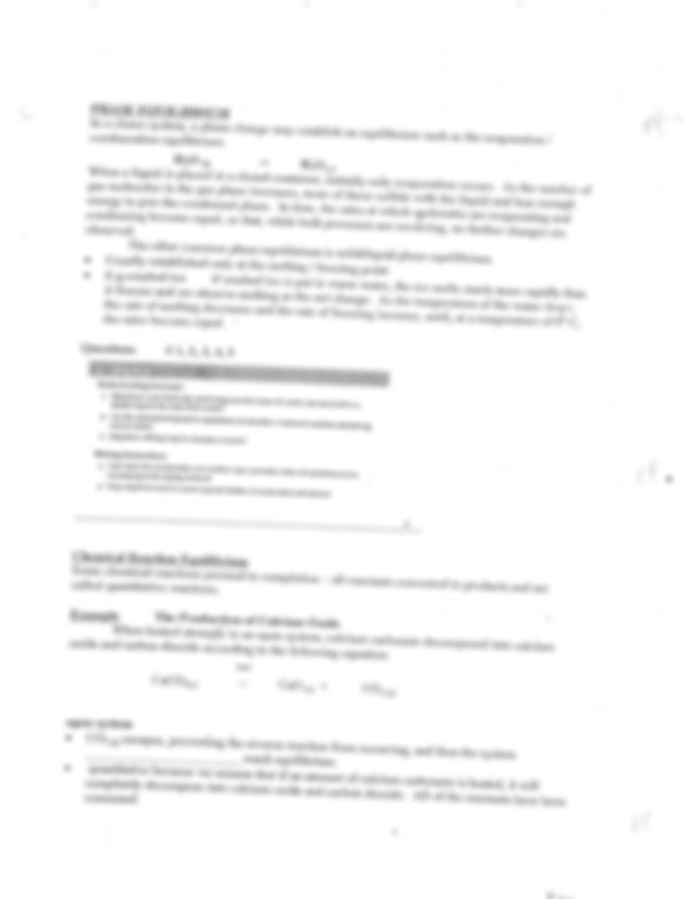 Unit 4 Chemical Systems at Equilibrium Notes Part 1