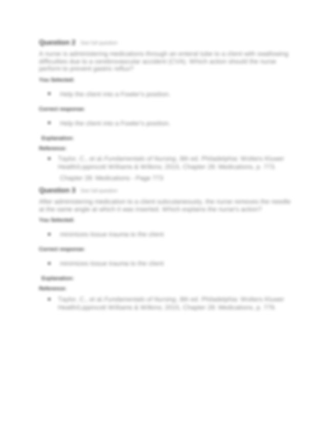Chapter 28 Medications Page 779 Question 4 See full