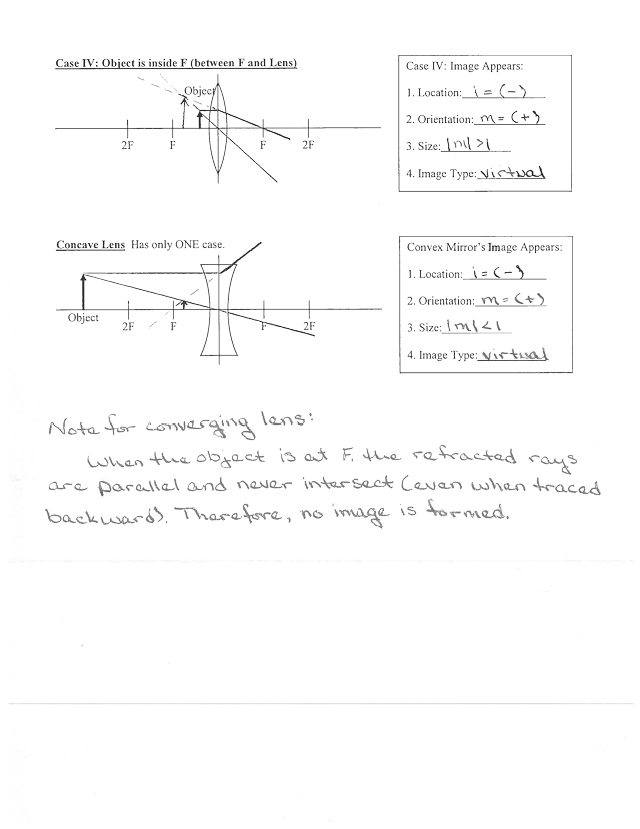 Lens Diagram Worksheet (done) - Lens Ray Diagram MB.2:=\\u00a2 Convex Lens Has multiple cases Case I Object is far beyond 2F(at 00 Case 1 Image ...
