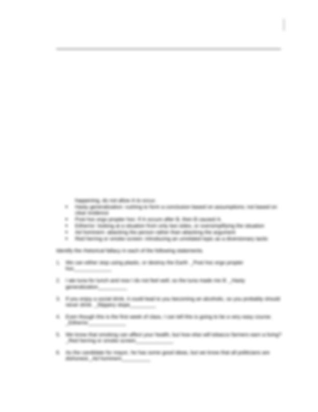 Rhetorical Strategies And Fallacies Worksheet 2