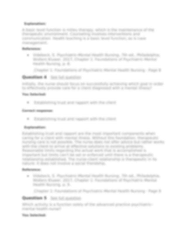 Reference Videbeck S Psychiatric Mental Health Nursing 7th