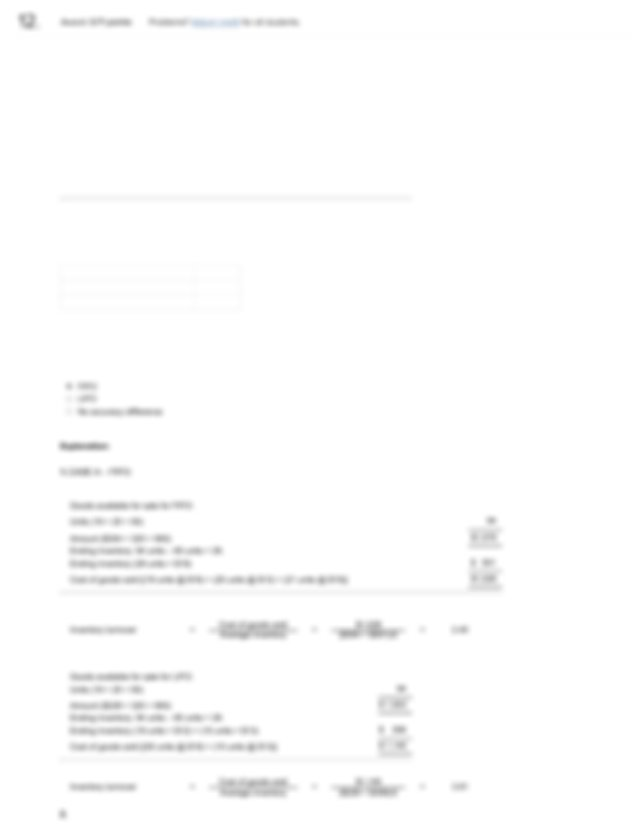 Worksheet Learning Report inventory and cost of goods sold