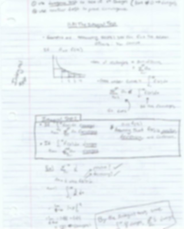 Integral Test and Sequences and Series Notes Math 141