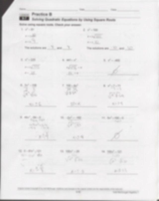 9.7 Worksheet solving quadratic formulas with square roots