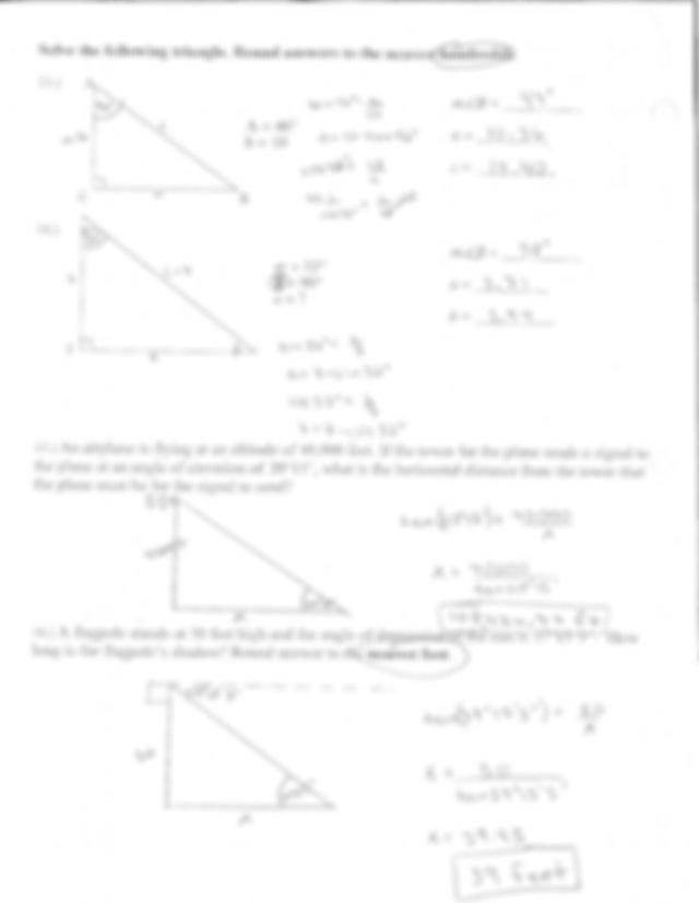 Unit 5 Trigonometry Test Answer Key : Grade 9 Unit 1