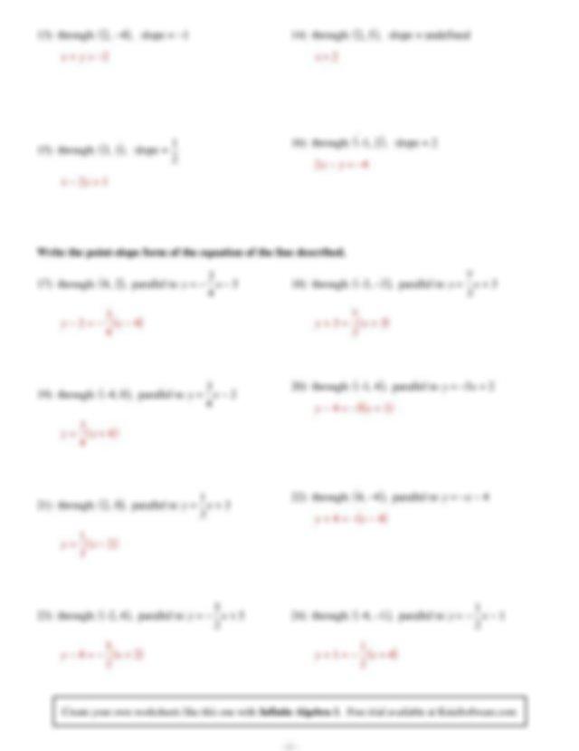 Worksheet by Kuta Software LLC 13 through 2 4 slope 1 14