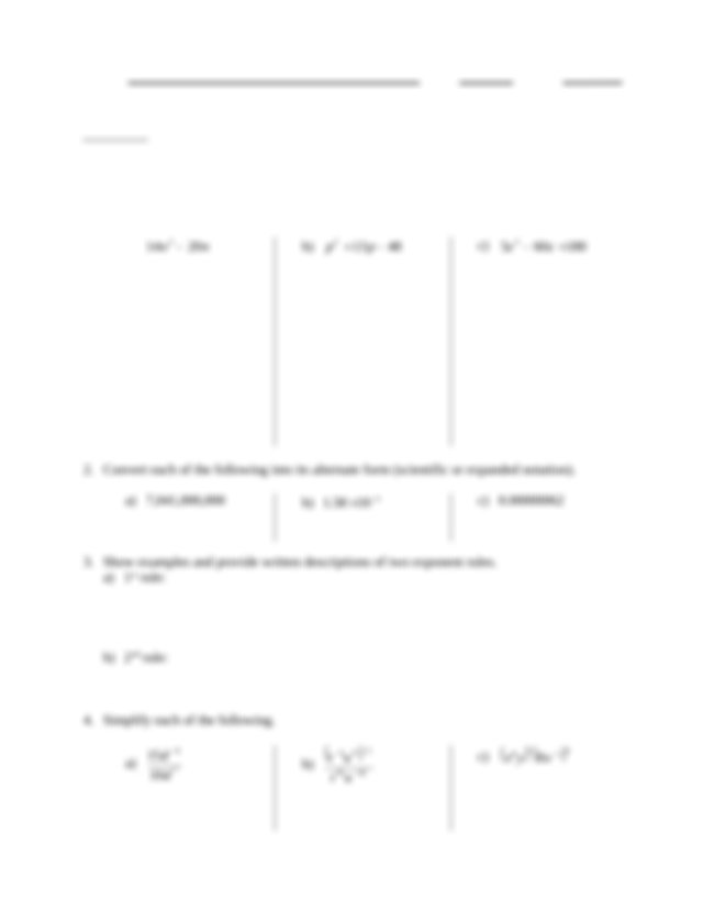 Quiz 1 Solution on Exponent Rules, Scientific Notation