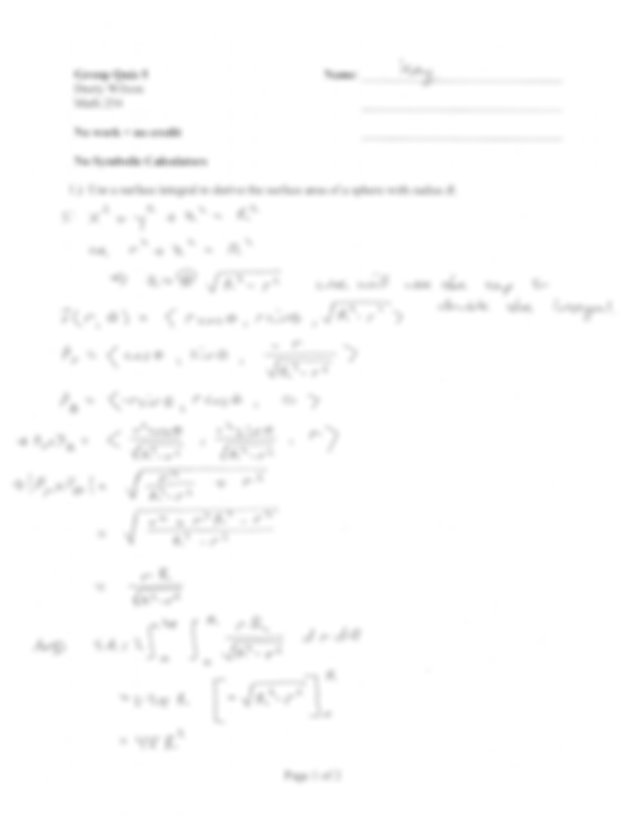 Quiz 5 Solution Spring 2014 on Multivariable Calculus