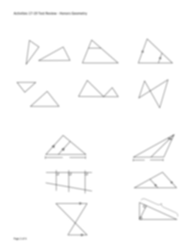 V Decide whether the two triangles in each problem can be