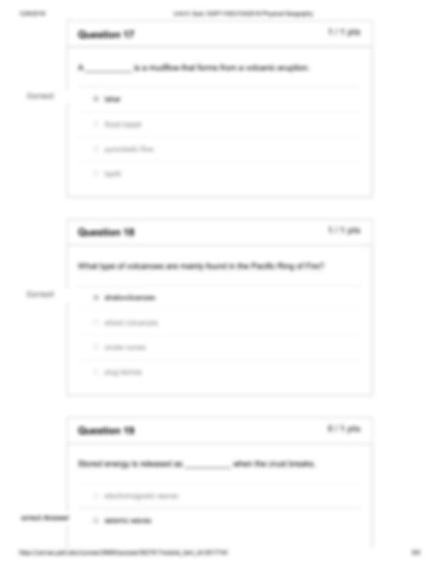 Correct 1262018 Unit 5 Quiz GGP115DLF2A2018 Physical