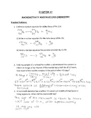 Radioactivity and Nuclear Chemistry Worksheet - Problems ...