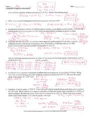 Colligative Properties Worksheet - Key - Name Ki ...