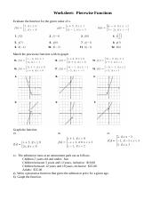 Piecewise Functions Evaluate Worksheet Answers ...