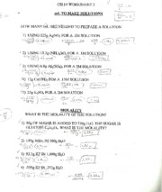 Worksheet On Solutions Amp Molality