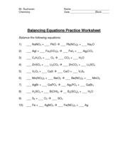 Balancing Chemical Equations Worksheet Part 1