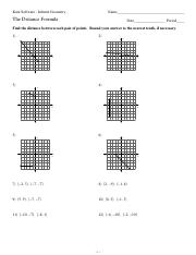The Distance Formula Worksheets with answers tocheck