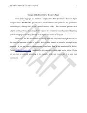 SAMPLE QUANTITATIVE RESEARCH PAPER 1 Sample Of The Quantitative