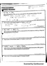 Stoichiometry Limiting Reactants Worksheet Answer Key ...