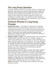 Long Essay QuestionSummary Outline Example  Example 1 Question Some historians have argued