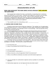Characteristics-of-life-worksheet-Answers - Name Characteristics of Life Reinforcement Identify the feature of life that is illustrated by each of the