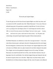 The Man The Poet Langston Hughes Research Paper Nicole Rushin