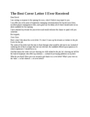 Best Cover Letter Written - Cover Letter Sample