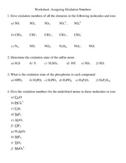 Oxidation Number Worksheet - The Large and Most ...