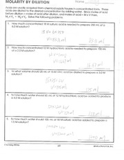 Molarity By Dilution Worksheet Pg 69