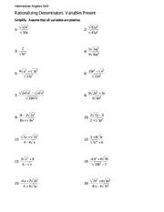 Math 1099 Rationalizing Denominators