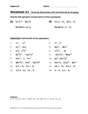 GCF and grouping WS - Algebra II Name Worksheet#1 ...