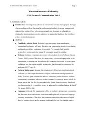 C768 Technical Communication Task 1.docx - C768 Technical Communication Task 1 Page 1 Western Governors University C768 Technical Communication ...