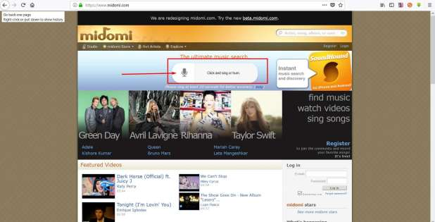 موقع midomi يساعدك أن تعرف أسم أي أغنية من خلال أي صوت بها